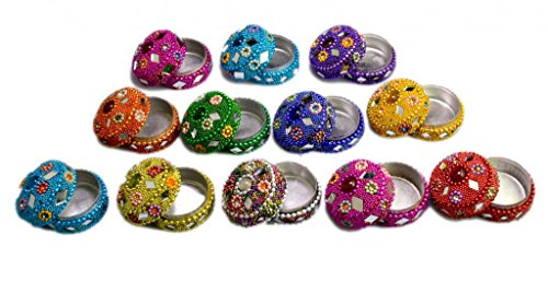 Amazing India A Set Of 12Pcs Mirror Work Beaded Multi Jewellery Boxes 1.5 Inches Width Multi Color