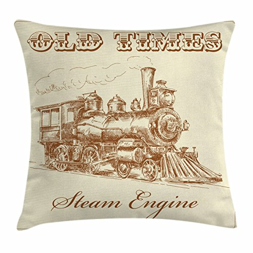 (Ambesonne Steam Engine Throw Pillow Cushion Cover, Old Times Train Vintage Hand Drawn Iron Industrial Era Locomotive, Decorative Square Accent Pillow Case, 18