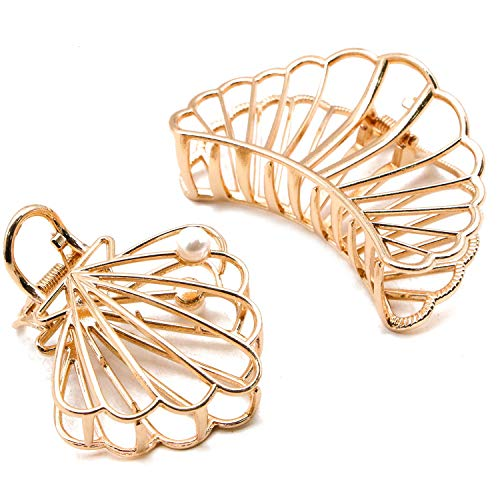 JETEHO 2 Pcs Large Metal Open Shape Hair Claw Elegant Hollow Shell Scallop Shape Hair Jaw ()
