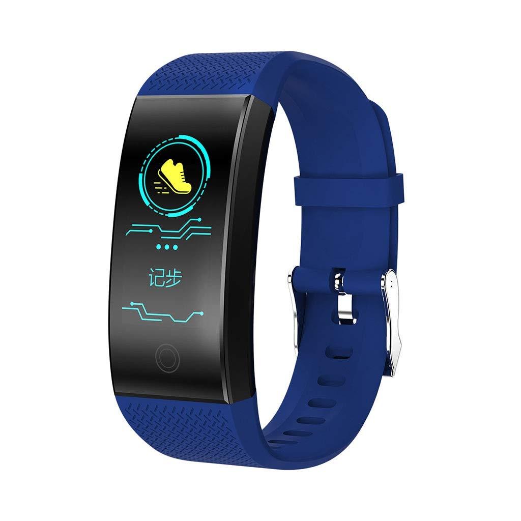 PLY Smart Watch Fitness Tracker,Sports Men and Women Multi-Function Pedometer Blood Pressure Heart Rate Running Running Universal Smart Bracelet,for Kids Women Men (Color : Blue)