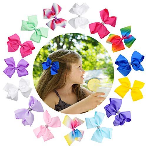 15 PCS 4.5 Inch Baby Girls Hair Bows Hand-made Multi-colored Grosgrain Ribbon Hair Bows Alligator Clips Hair Accessories