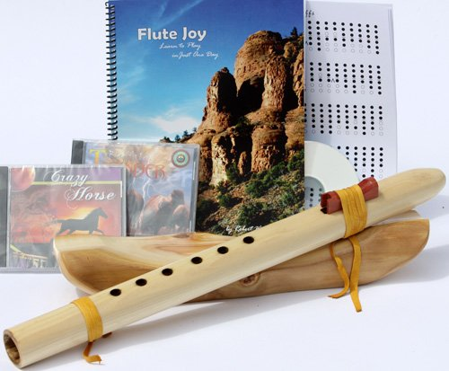 Windpony Key of Low D, 6-hole Poplar Native American Style Flute, book and 3 CDs Starter Set (Retail Value $169.95) - Books and CDs