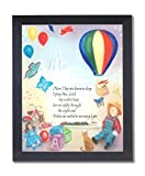 Solid Wood Black Framed Sleep Prayer Children Kids Room Religious Pictures Art Print