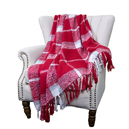 Home Decorations Red Super Soft Vintage Fluffy Plaid Throw Blanket-100% Acrylic Cashmere-like- Bedspread Sofa Couch Blanket Throw with Fringe,50