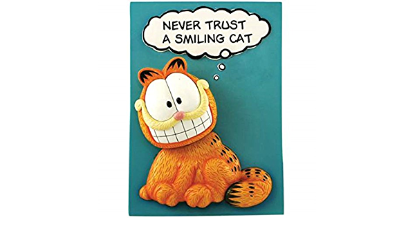 Westland New in Box Never Trust a Smiling Cat Collectible Garfield Bobble Plaque
