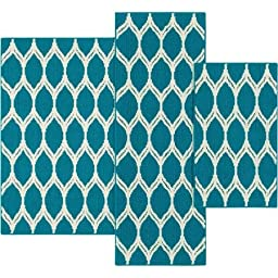 Mainstays Sheridan Ogee 3-piece Accent Rug Set, Teal