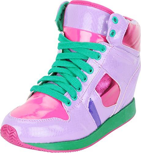 Cambridge Select Women's High Top Lace-Up Hidden Wedge Fashion Sneaker,5.5 B(M) US,Purple Snake