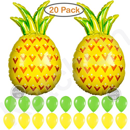 Pineapple Balloons Party Decorations Supplies - Pack of 20 - 2 Giant Helium Pineapple Balloons | 9 Green 9 Yellow Latex Balloon | Pineapple Decor | Pineapple Party Decorations | Luau Party Supplies