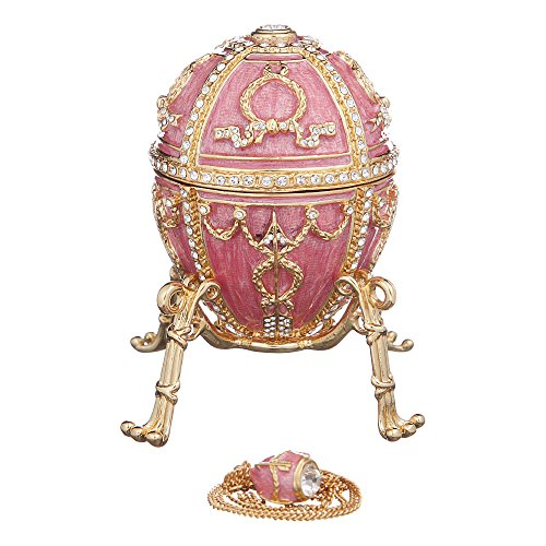 (Russian Faberge Style Egg with Arrows / Trinket Jewel Box with Flower & Pendant pink)