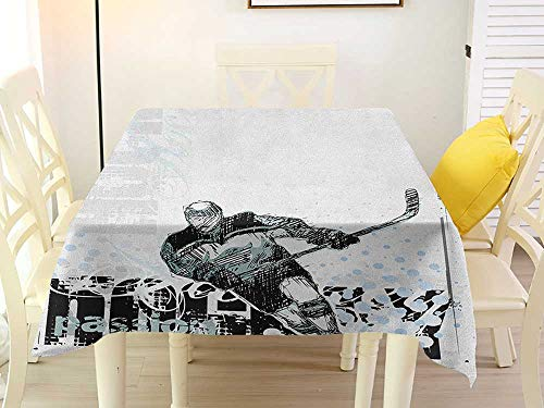 L'sWOW Transparent Square Tablecloth Hockey Professional Goaltender in Sketch Art Style on a Grunge Sports Background with Dots Multicolor Fringe 70 x 70 Inch ()