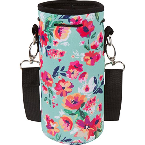 Neoprene Water Bottle Holder Bag Pouch Cover, Insulated Water Bottle Carrier (32 oz / 1-1.5L) w/Adjustable Shoulder Strap by MEK (Teal & Pattern, 1 Pack) ()