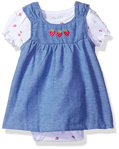 Rene Rofe Baby Baby Girls' 2 Pc Chambray Rear Snap Jumper Set with Shortsleeve Bodysuit, Chambray Pink Strawberries, 0-3 (Girls Chambray Jumper)