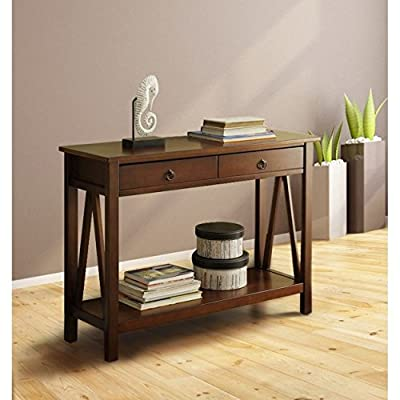 Modern Medium Brown Narrow Sofa Table Hallway Console with 2 Storage Drawers - Includes Modhaus Living Pen