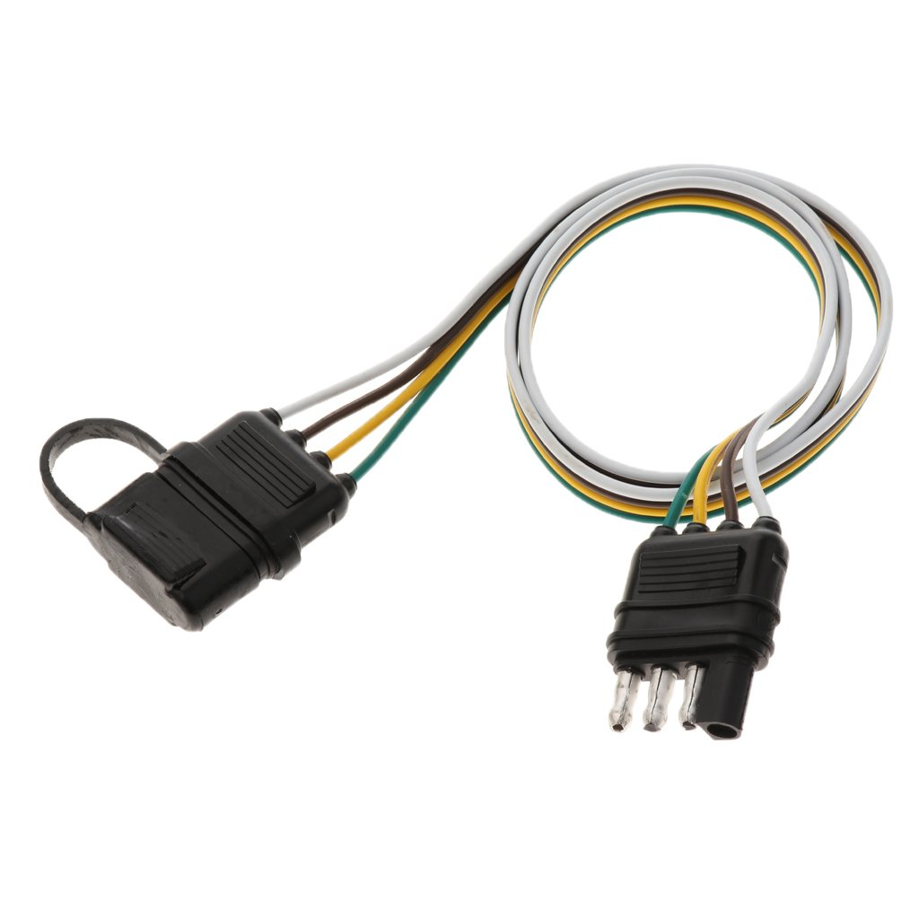 Magideal 82cm 4 Pin Rv Trailer Light Wiring Harness Line Plug Flat Wire Adapter Cable Connector With