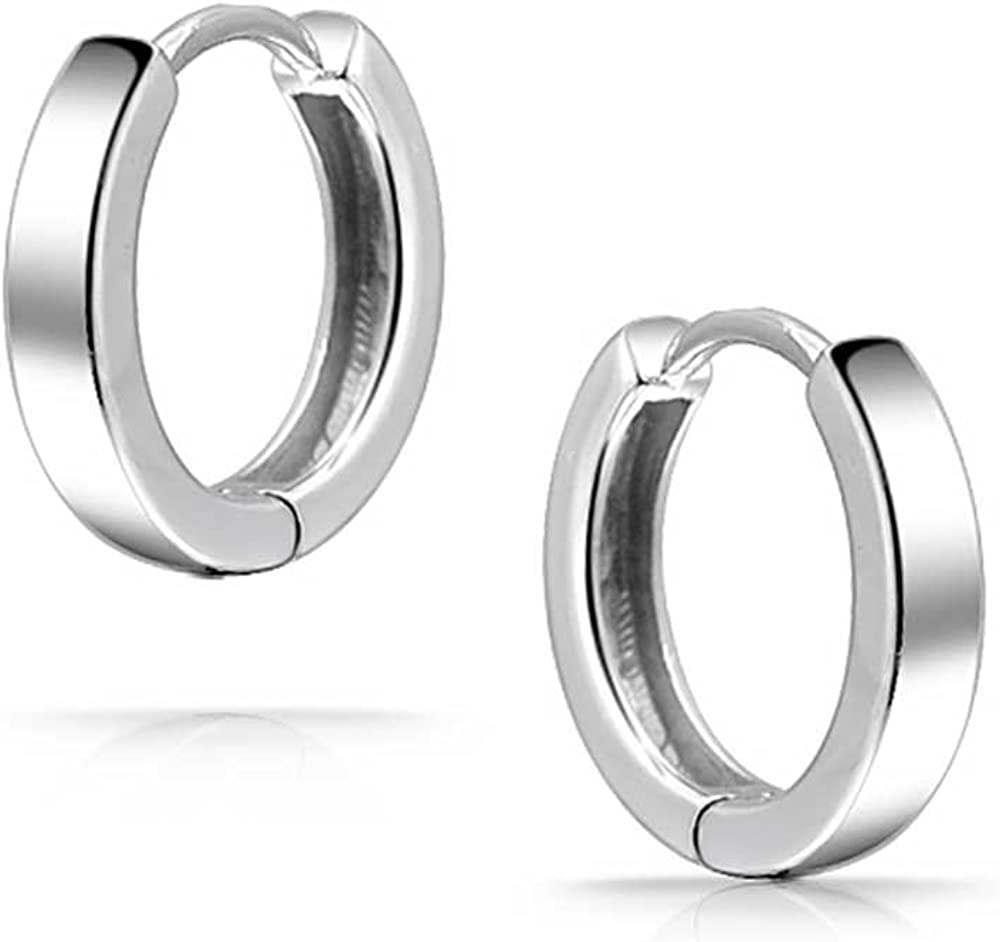 Basic Simple Thin Huggie Hoop Kpop Earrings For Women For Men 14K Gold Plated 925 Sterling Silver Polished Flat Hinge