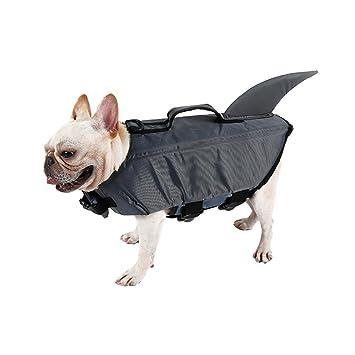 UEETEK Perro mascota chaleco salvavidas Perro chaleco flotador Traje lindo perro tiburón Cachorro traje de baño de seguridad Ropa protectora para natación ...