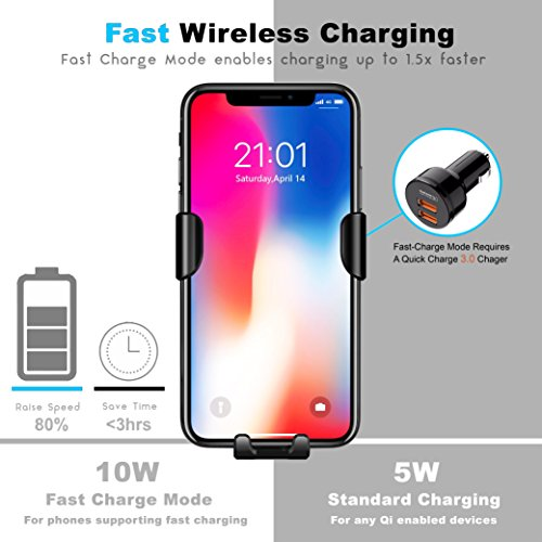 Fast Wireless Car Charger - Qi Wireless Charger Car Mount and Phone Holder for Car - 10W Wireless Charger for Samsung Galaxy S9/S9+/S8/S8+ and Apple iPhone X/8 and Qi Enabled Devices   Drive Safe by Axion (Image #3)