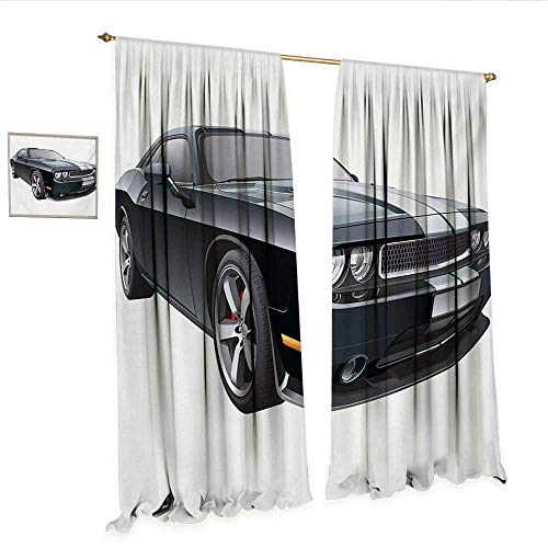 WinfreyDecor Cars Decorative Curtains for Living Room Black Modern Pony Car with White Racing Stripes Coupe Sports Dragster Print Room Darkening Wide Curtains W84 x L96 Black Grey White.jpg
