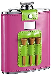 """Visol """"Pink and Lime"""" Patent Leatherette Stainless Steel Hip Flask, 6-Ounce, Green"""