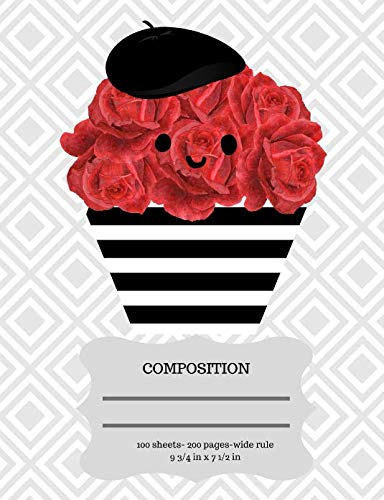 Cupcake Composition Notebook: French Parisian Style Petit Gateau Red Rosette Frosted Cupcake Wide Rule Composition Book