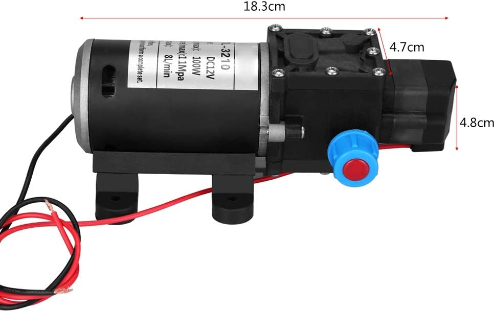 Diaphragm Water Pump,12V DC 100W 8L//Min 160Psi High Pressure Diaphragm Self Priming Water Pump for Wash High Pressure Water Pump