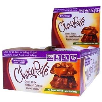 ChocoRite - High Protein Diet Bar   Milk Chocolate Pecan Clusters   Low  Calorie, Low