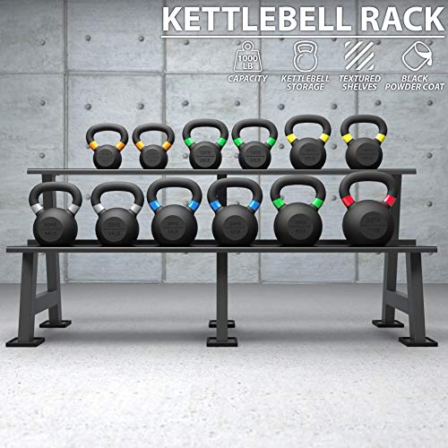 Synergee Kettlebell Storage Rack - Gym Storage Rack for Fitness Equipment Organization - 2-Tier Shelf for Holding Kettlebell Set