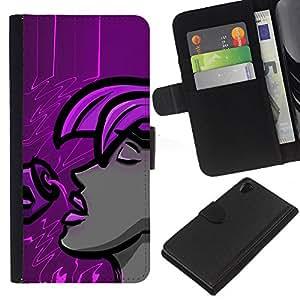 Leather Etui en cuir || Sony Xperia Z2 D6502 || Púrpura Mujer @XPTECH