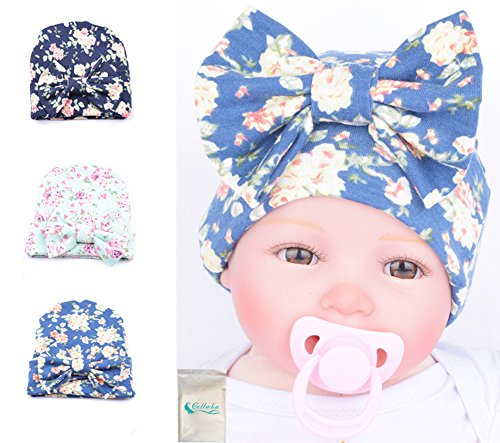 Gellwhu Pink White Blue Newborn Girl Nursery Beanie Hospital Hat With Large Bow (3 Colors Pack B)