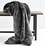 Luxury Faux Fur Oversized Throw Blanket with Plush Velvet Reverse, Fox Lynx or Gray Mink (Midnight Grey)