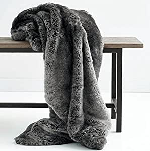 Luxury Faux Fur Oversized Throw Blanket with Plush Velvet Reverse, Fox Lynx or Gray Mink (Midnight X-Long)