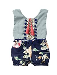 Mapletop Summer Sleeveless Floral Romper Elegant Jumpsuit For Girls Baby