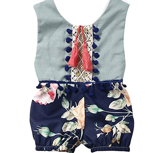 OMfeng Baby Jumpsuit Floral Clothes Outfits Summer Sleeveless Romper (60) (Sixties Outfit)