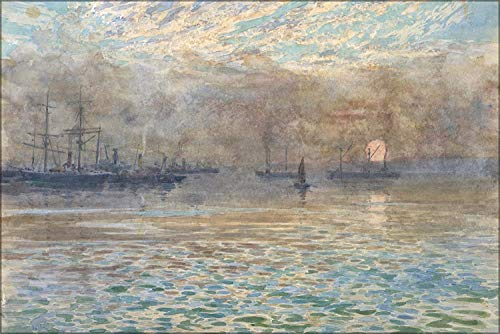 (FemiaD 18x24 Poster- Wall Art James M. Nairn - Winter Morning, Wellington Harbour )