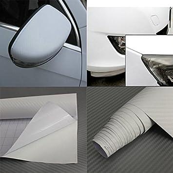 JenNiFer 2Mx50Cm Pellicola Adesiva A Rotolo in Vinile in Fibra di Carbonio 3D Lucida Fai da Te 8 Colori per Veicolo Auto Bianca