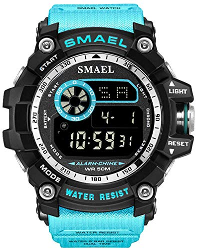 Mens Digital Sports Watches Multifunctional Large Military 50M Waterproof LED Alarm Backlight Super Cool Watch (Turquoise Blue)