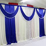 3Mx3M Three Fold Dark Blue Wedding Stage Backdrop Party Drapes With Swag Soft