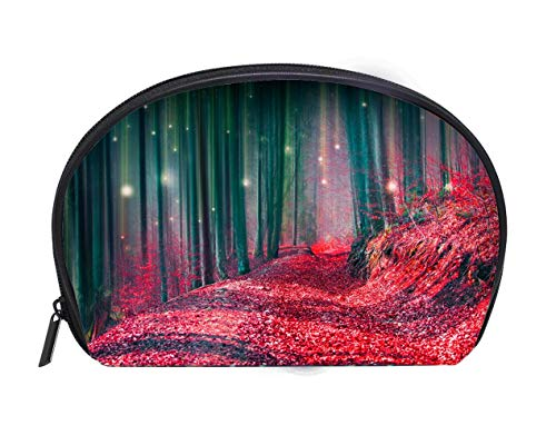 Portable Toiletry Cosmetic Bag Magic fairytale forest with fireflies lights and mysterious road Ladies Travel Convenience Small Wash Bag Storage Bag -
