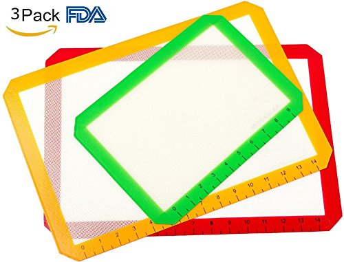 PEI Silicone Baking Mat Set Of 3 Non Stick Reusable With Measurements 2 Half Sheet Liners And 1 Quarter Sheet Mat