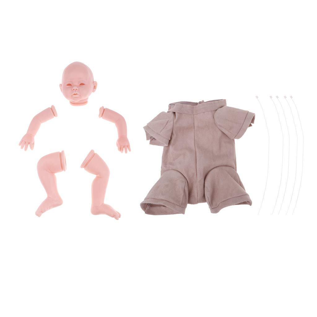 Unpainted Reborn Doll Mold, Full Head + Arms Legs + Suede Cloth Body Kit, Silicone Vinyl Newborn Baby Lifelike, Kids Adult DIY Making (20 Inch)