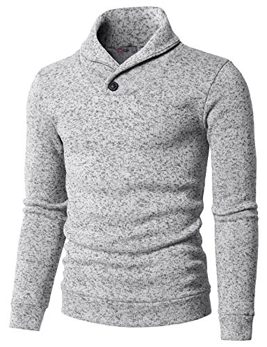 H2H Mens Knited Slim Fit Pullover Sweater Shawl Collar with One Button Point White US M/Asia L (KMOSWL036)