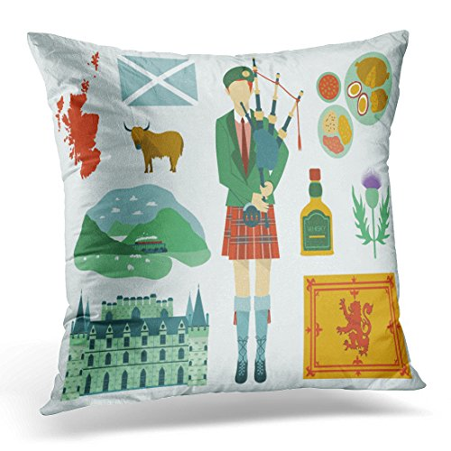 VANMI Throw Pillow Cover Scottish All About Scotland National Map Food Tourist Attractions Castle Flower and Kilt Scotsman Decorative Pillow Case Home Decor Square 18x18 Inches Pillowcase