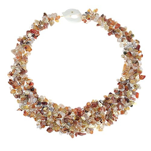 AeraVida Orange Cascades Carnelian-Cultured Freshwater Pearls-Glass Medley Bib Necklace - Freshwater Pearl Cascade