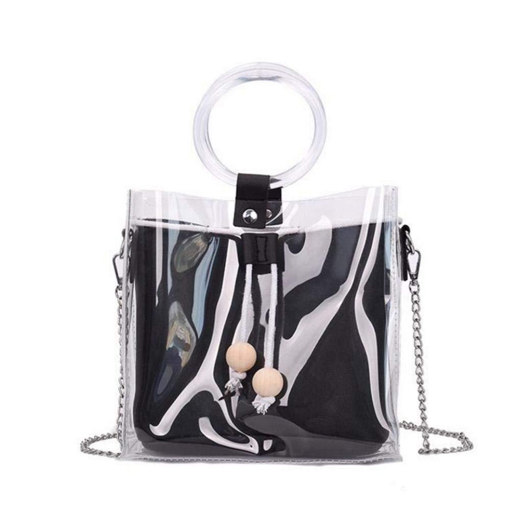 Bolayu Fashion Women Handbag Transparent Confectionery Color Shoulder Bag Bucket Messenger Bag (Black)