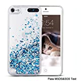 Maxdara iPod 5 Case, iPod 6 Case, Glitter Liquid Floating Bling Sparkle Quicksand Case for Girls Children [Tempered Glass Screen Protector] for Apple iPod touch 5 6th Generation (Blue)
