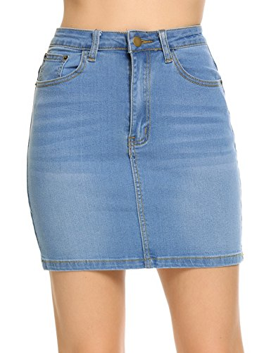 - Womens High Waist Denim Short Pencil Skirt, Blue, XX-Large