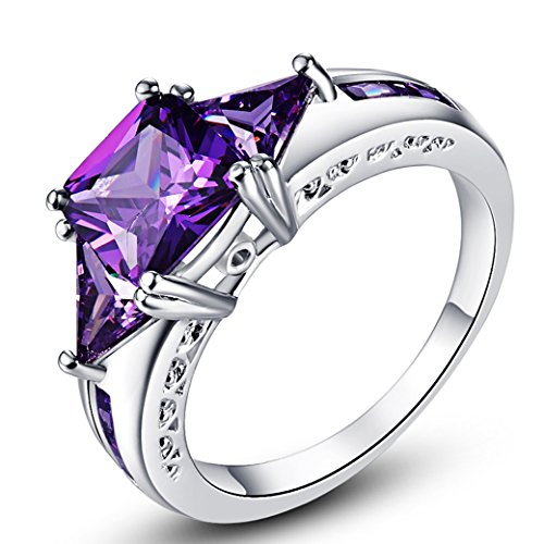 Narica Women's Elegant 7mmx7mm Princess Cut Amethyst CZ Engagement Ring Band