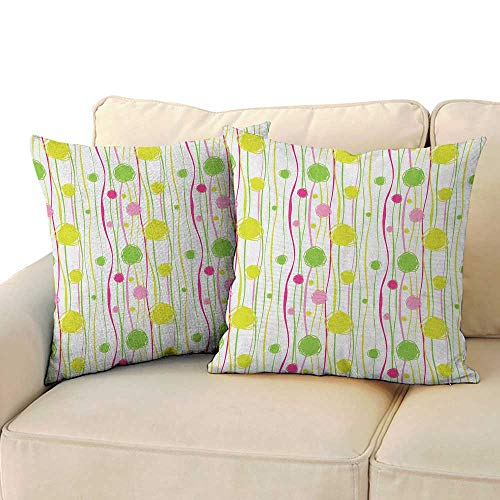 Ediyuneth Nature Throw Pillow Cushion Cover Green and Pink,Doodle Style Random Wavy Stripes with Big Small Spots Kids Art Theme, Green Pink White 18