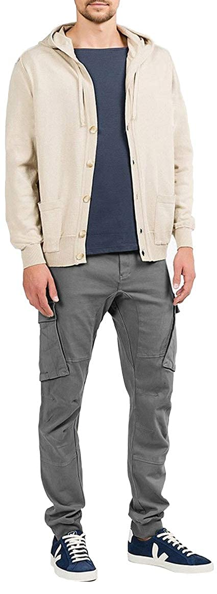 The Project Garments Mens Cotton Blend Knitted Hooded Sweater Beige