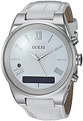 GUESS Women's CONNECT Smartwatch with Amazon Alexa and Genuine Leather Strap Buckle - iOS and Android Compatible - Silver